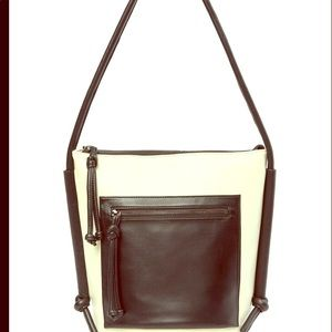 Kooba black & white Cameroon bucket purse